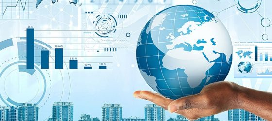 globalisation concept with data and statistics