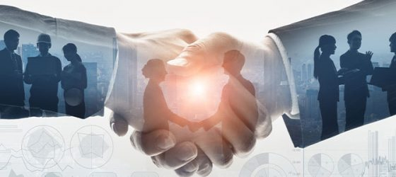 m&a broker shaking hands and meeting with business buyers and sellers